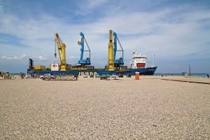 Liebherr LHM 420 Mobile Harbor Grues Appel Port Lafito Accueil