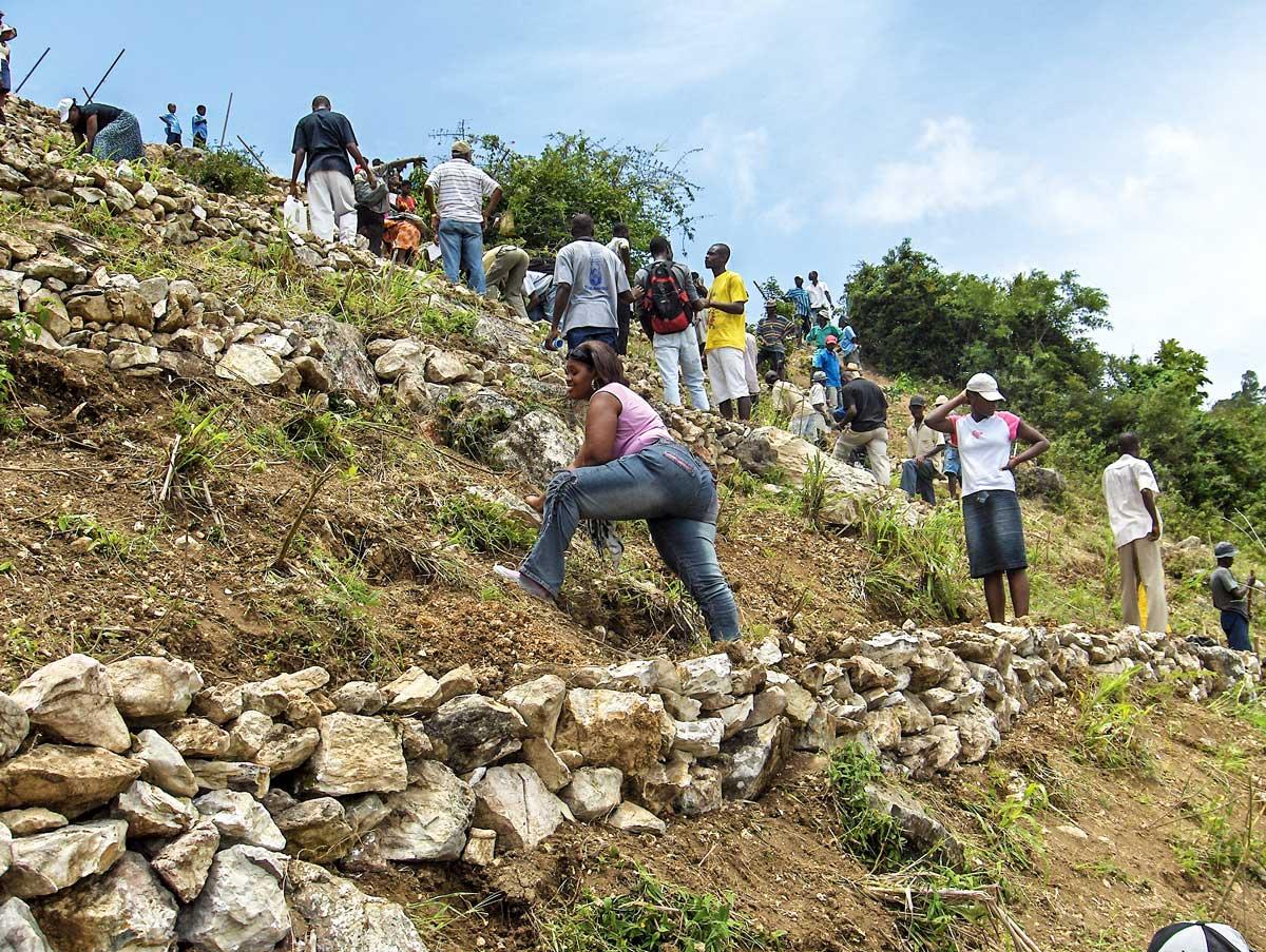 DES TOURISTES participant à un chantier de conservation des sols.