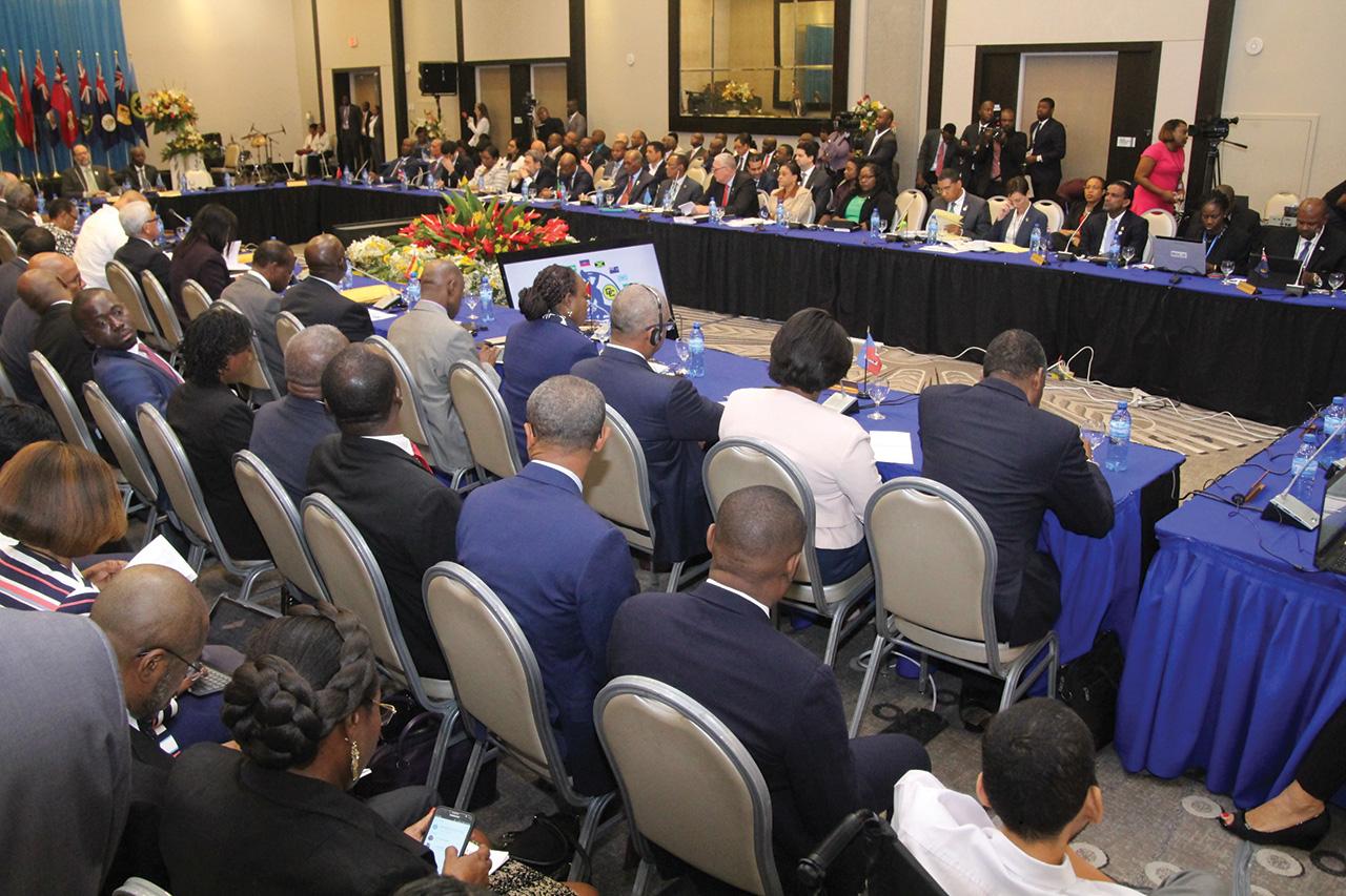 Des délégués participant à une réunion de la Caricom à Port-au-Prince.