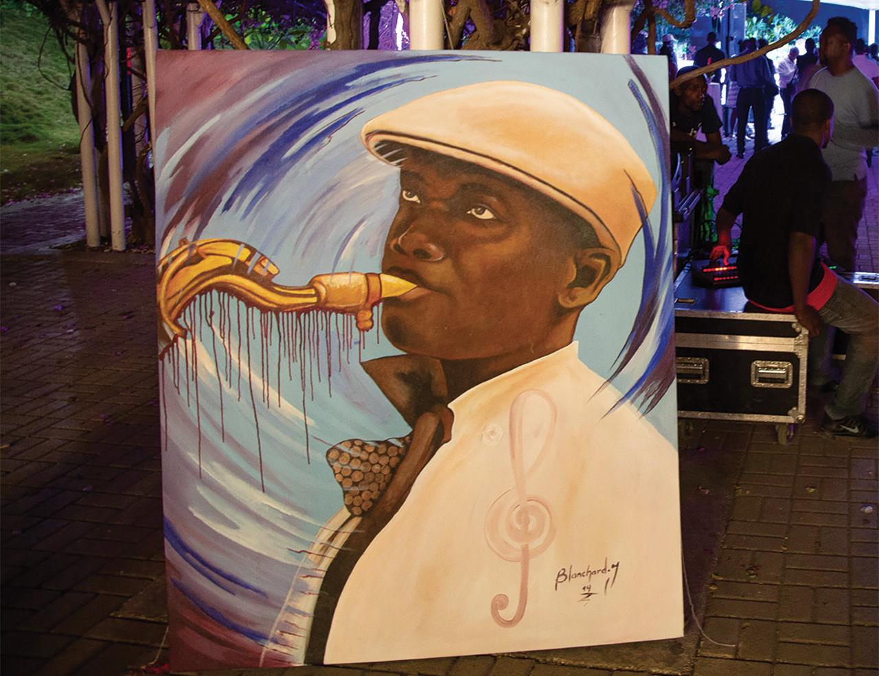 Le portrait de Nemours Jean-Baptiste peint par un artiste haïtien.