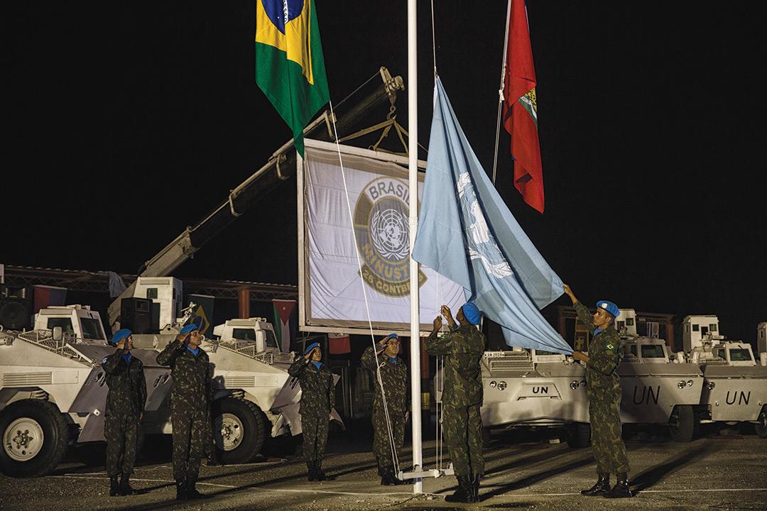 Cérémonie marquant la fin des opérations de casques bleus brésiliens et le début de leur retrait d'Haïti avant la fermeture de la MINUSTAH le 15 octobre 2017. Logan Abassi/ MINUSTAH